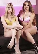 Horny tgirls Eva & Angelina playing