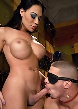 Mia Isabella celebrates her birthday by shoving her tits in her cake and feeding it to her man who is tied up in the fuck me position.