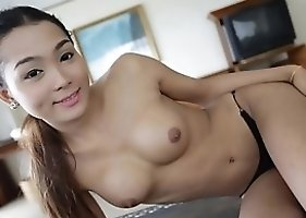 22 Year Old Busty Thai Shemale Does A Sexy Striptease In Her Lacey Dress