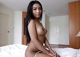 20 Year Girlie Thai Ladyboy Does A Striptease For White Tourist