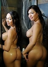 Super hot tgirls Carmen and Mia taking a shower
